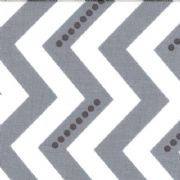 White and Graphite Grey Dotted Zig Zag Fabric - per quarter metre